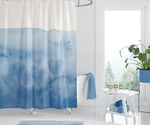 blue hearts, etsy, and shower curtain image