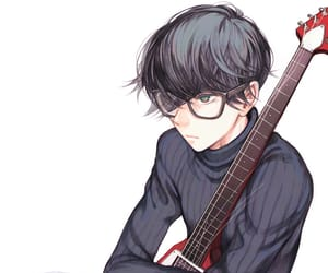 black hair, glasses, and green eyes image