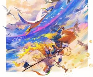 abstract, anime girl, and bird image