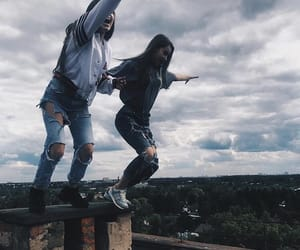 fashion, jeans, and jump image