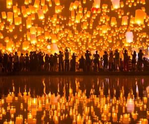 light, people, and lantern image