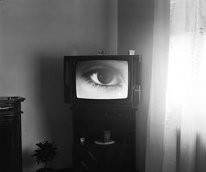 black and white and eye image