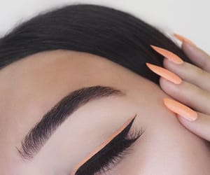makeup, nails, and peach image