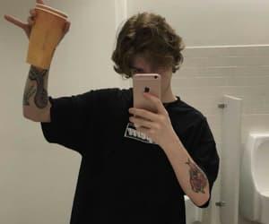 bathroom, cup, and selfie mirror image