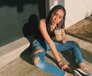 beverage, brunette, and drinking image