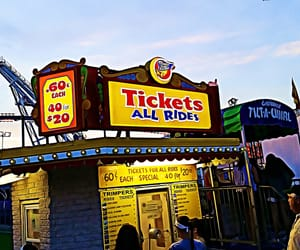amusement park, tickets, and boardwalk image
