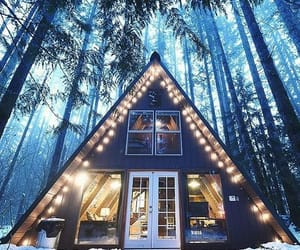 cabin, forest, and lights image