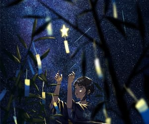 anime, scenery, and starry sky image