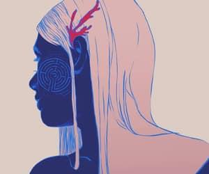 pink hair art, maze algae face art, and target maze face hair image