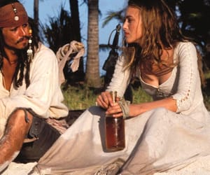 keira knightley, pirates of the caribbean, and captain jack sparrow image