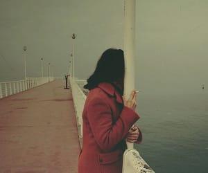 cigarette, sea, and smoke image