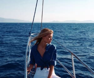 girl, boat, and sea image