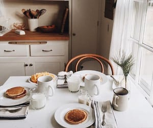 kitchen, pancakes, and breakfast image