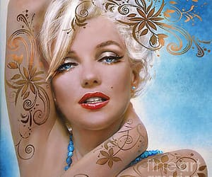 artwork, blue, and marilyn image