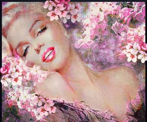 artwork, cherry blossoms, and marilyn image