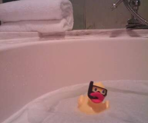 bubble bath, yellow, and duck image