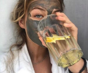 girl, mask, and water image