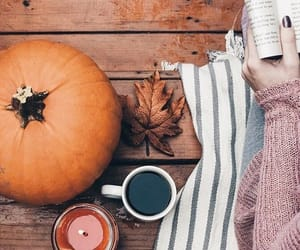 candle, pumkin, and coffee image