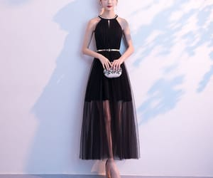 black dress, evening dress, and summer dress image