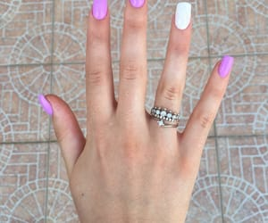 beauty, white, and purple nails image