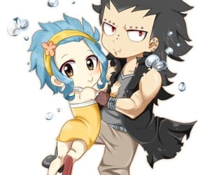 anime, blue hair, and levy image