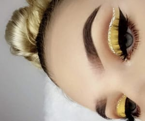 eye shadow, yellow, and cute image