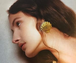 earrings, girl, and gold image