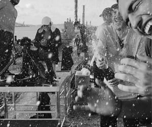 black and white, happy, and champagne image