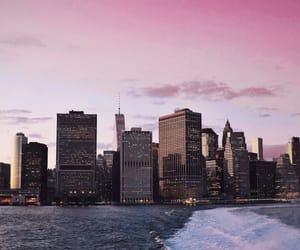 big city, sky, and pink sunset image