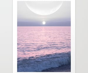 moon, ocean, and pink image
