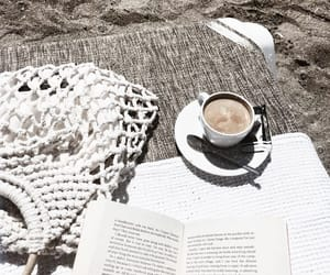 beach, book, and coffee image