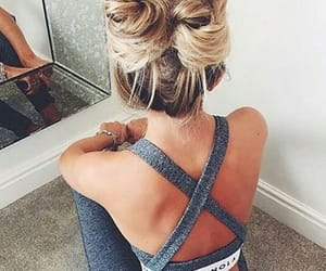 beautiful, blonde hair, and bun image