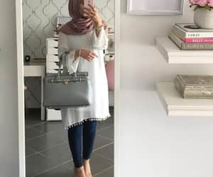 hijab, outfit, and white image