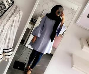 Bleu, fashion, and hijab image
