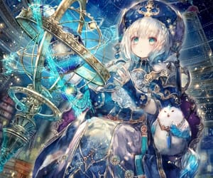 blue, galaxy, and anime image