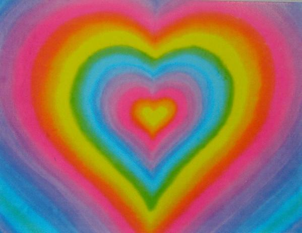 aesthetic, heart, and rainbow image