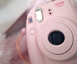 pink, camera, and instax image