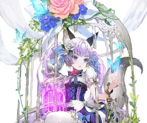 animal ears, dress, and flowers image