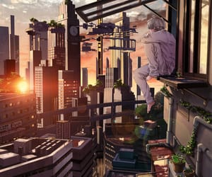 city, sunset, and anime image