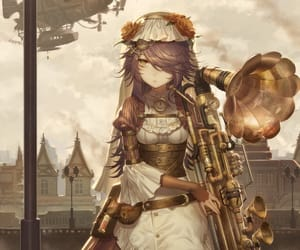brown hair, dress, and instrument image