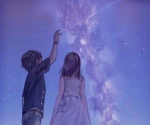 anime, sky, and couple image