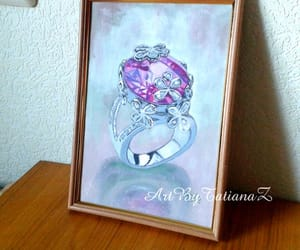 diamond ring, gouache, and watercolor image
