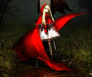 red riding hood, weapon, and anime girl image