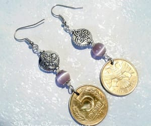 cats eye earrings, etsy, and coin jewelry image