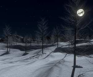 moon, night, and snow image