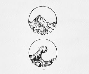 drawing, nature, and mountains image