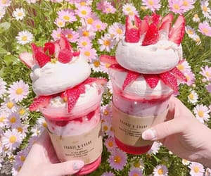 strawberry, food, and flowers image