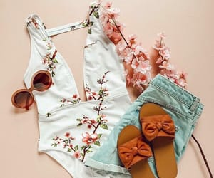 bodysuit, cherry blossom, and clothes image