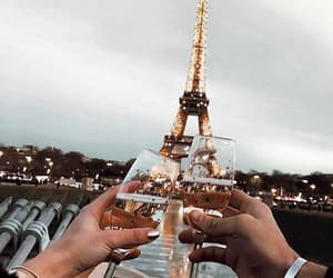 champagne, eiffel tower, and happy image