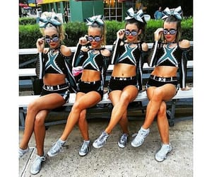 cheer, cheer bows, and Cheerleaders image